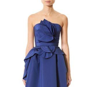 Carolina Herrera blue ruffle strapless dress